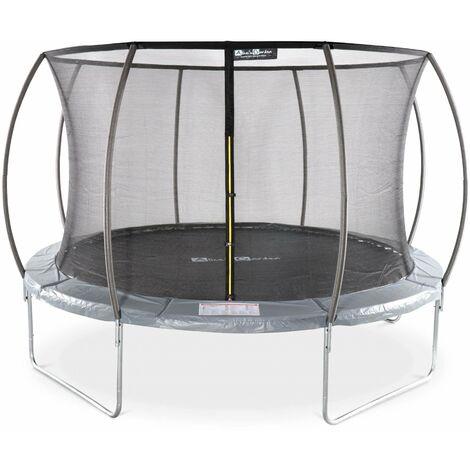 Round trampoline 12 ft - Grey with internal safety net - Saturn Inner - New Design - Garden trampoline with curved tubes Ø370 cm |Quality PRO. | EU standards.