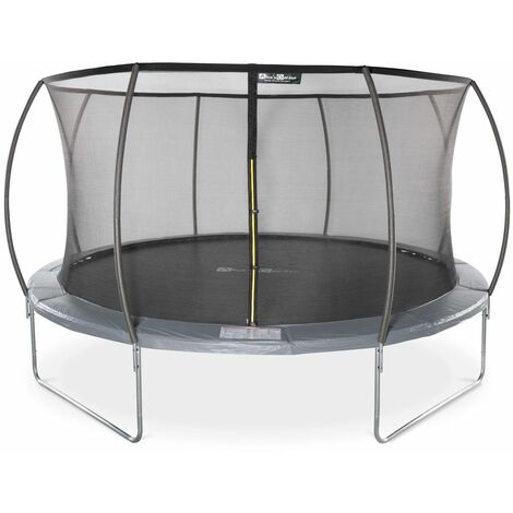 """main image of """"Round trampoline 14 ft Grey with internal safety net - Venus Inner - New Design - Garden trampoline with curved tubes Ø430 cm 