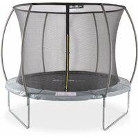 Round trampoline Ø305 cm / 10 ft Grey with internal safety net - Mars Inner - New Design - Garden trampoline with curved tubes 3.05 m