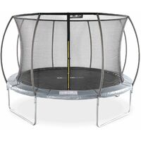 Round trampoline Ø370 cm/ 12ft Grey with internal safety net - Saturn Inner - New Design - Garden trampoline with curved tubes 3.7 m
