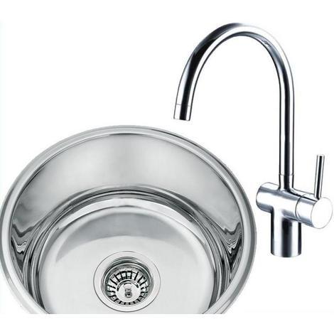 Round Undermount Stainless Steel Kitchen Sink & Side Action Chrome Taps (KST004)