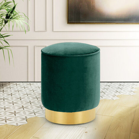 Round Velvet Footstool Footrest Pouffe Stool Ottoman Bedroom Seat Gold Colour Base Green