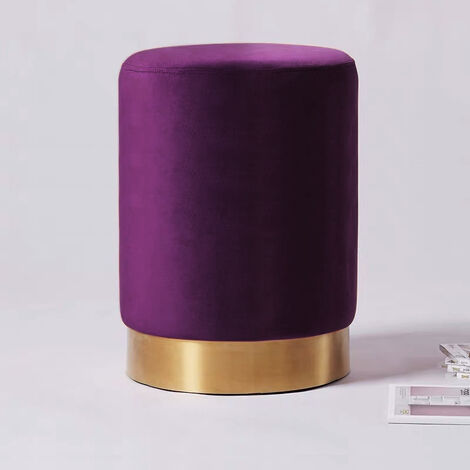 Round Velvet Footstool Footrest Pouffe Stool Ottoman Bedroom Seat Gold Colour Base, Purple