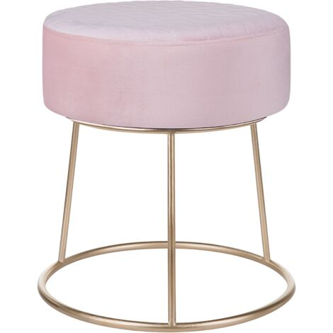 Round Velvet Footstool Metal Gold Base Pouffe Glam Pink Delco