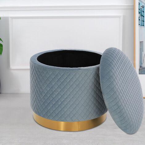 Round Velvet Storage Footstool Ottoman Footrest Dressing Table Stool Chair Blue