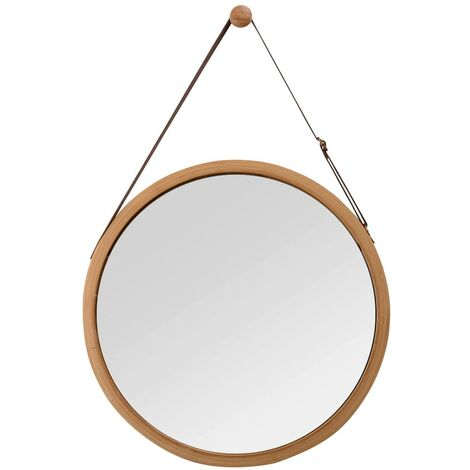"""main image of """"Round wall mirror with adjustable leather belt, bathroom mirror, Bamboo, brown, 38 cm"""""""