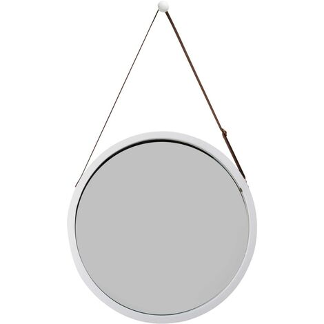 """main image of """"Round wall mirror with adjustable leather belt, bathroom mirror, Bamboo, White, 38 cm"""""""