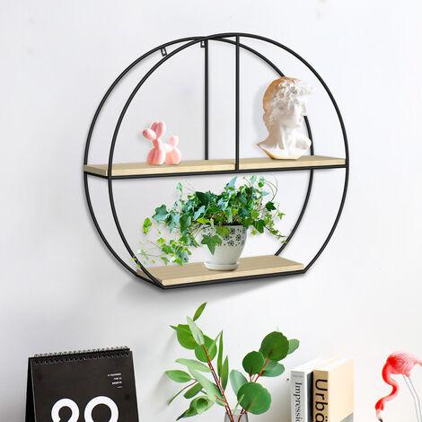 "main image of ""Geometric Wall Shelves Metal & Wood Floating Shelf Display Rack Backdrop Decors"""