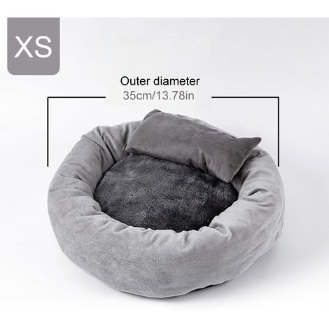 Round Warming Durable Cat Dog Bed Comfortable Puppy Dog Sleeping Bed with Pillow Diameter