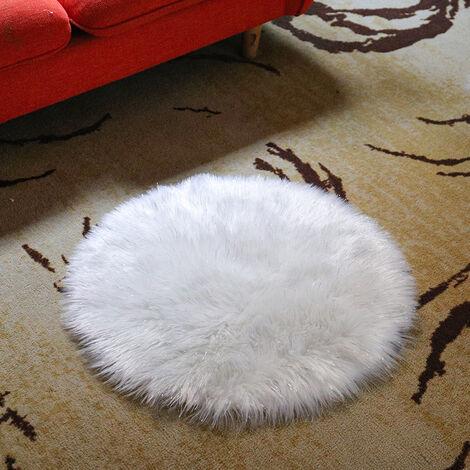 Round Wool Fluffy Soft Faux Fur Sheepskin Rug Shaggy Area Rugs Floor Carpet Bedroom Mat