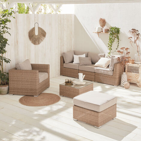 Rounded polyrattan garden sofa set - VINCI - Natural, beige cushions - 5 seats