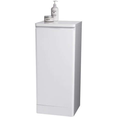 "Rounded White ""Riviera"" Bathroom Cabinet w/ Soft Close Single Door"