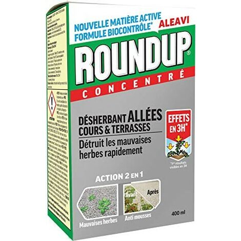 Roundup Désherbant Total concentré Nouvelle Formule Bio Contrôlée 400ML sans Glyphosate Allées Cours et Terrasses Anti Mousses et Mauvaises Herbes - ALEAVI