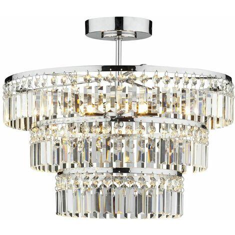Rowena crystal and polished chrome 3-light ceiling light