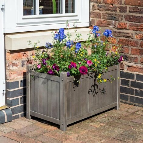 Rowlinson Alderley Grey Rectangular Planter Pot Raised Flower Bed Wooden Patio