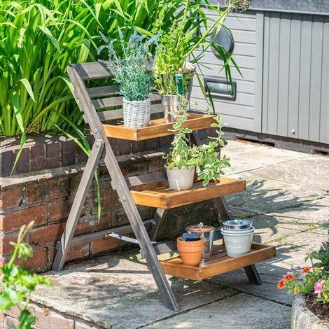 Rowlinson Alderley Herb Plant Flower Stand Wooden Planter Garden Ladder Small