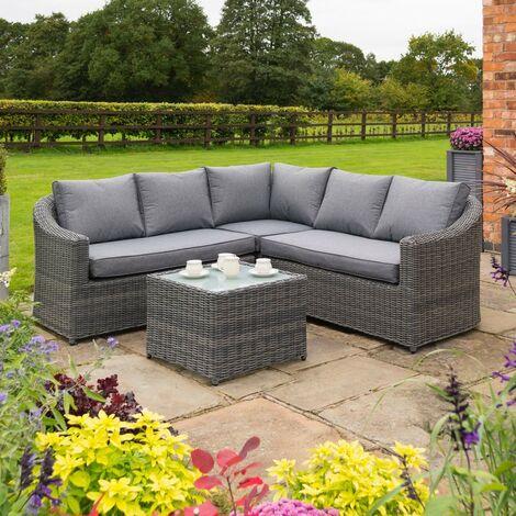 Rowlinson Bunbury Corner Rattan Sofa Chair Table 2 Piece Set Patio Garden Grey