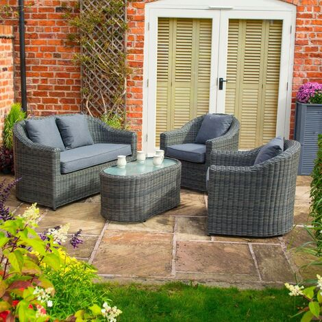 Rowlinson Bunbury Rattan Sofa Chair Table 4 Piece Set Patio Garden Grey