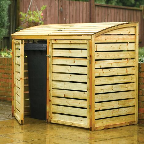 Rowlinson Double Bin Store 1300 x 1560 x 820mm Natural Timber Finish