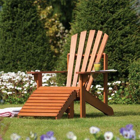 Rowlinson Hardwood Adirondack Seat Chair Garden Patio Lounger Foot Rest