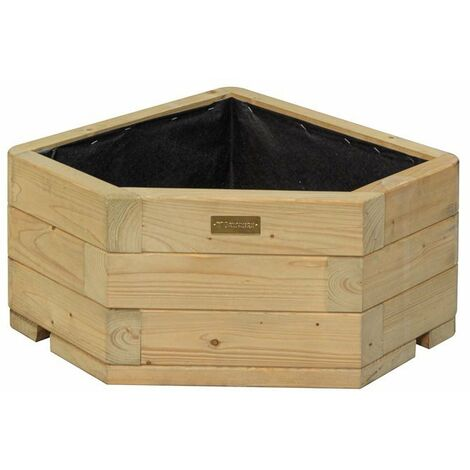 Rowlinson Marberry Corner Planter Wooden Raised Flower Bed Pot Patio Timber