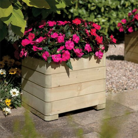 Rowlinson Marberry Square Planter Wooden Raised Flower Bed Pot Patio Timber