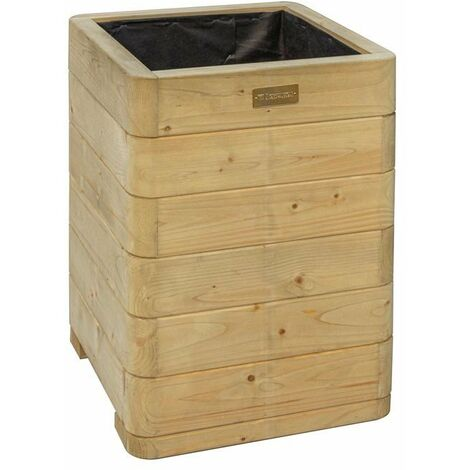 Rowlinson Marberry Tall Square Planter Wooden Raised Flower Bed Pot Patio Timber