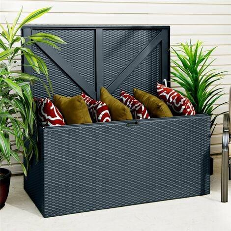 Rowlinson Metal Deck Storage Box Chest Cabinet Anthracite Grey Rattan Effect