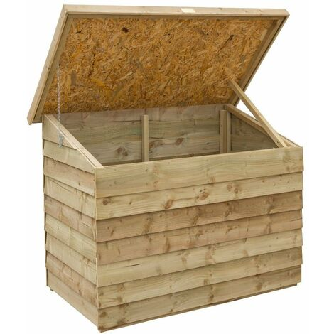Rowlinson Overlap Wooden Patio Tool Storage Chest Box Garden Shed Unit