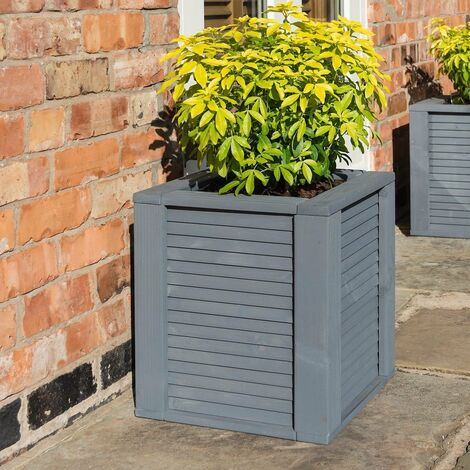 Rowlinson Palermo Grey Square Planter Wooden Raised Flower Bed Pot Patio Timber