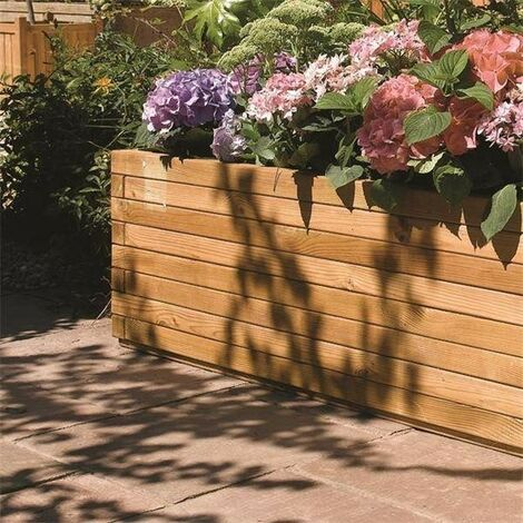 Rowlinson Patio Planter Rectangular Wooden Raised Bed Planter Flower Bed 166L