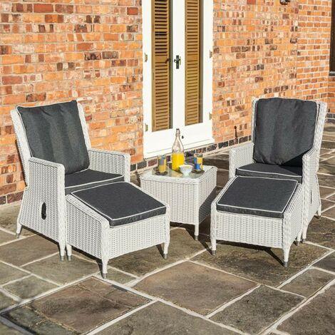 "main image of ""Rowlinson Prestbury 2x Rattan Lounger Reclining Chair Set Side Table Garden Grey"""