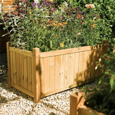 Rowlinson Rectangular Planter Wooden Raised Flower Bed Pot Patio Timber