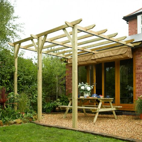 Rowlinson Sienna Retractable Garden Canopy Sun Shade Wooden Pergola Wall Mount