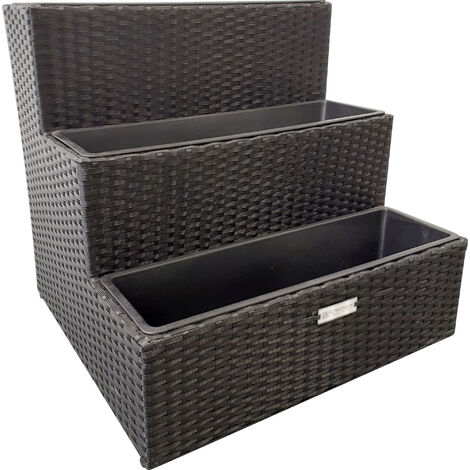 Rowlinson Wicker Rattan Planter Black 60x62x62cm