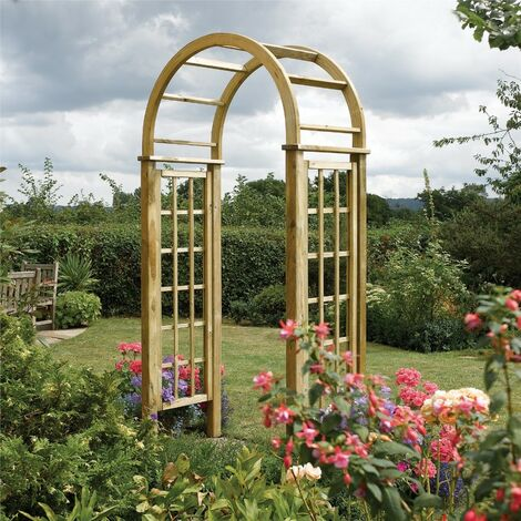 """main image of """"Rowlinson Wooden Round Top Garden Arch Pergola Plant Support"""""""