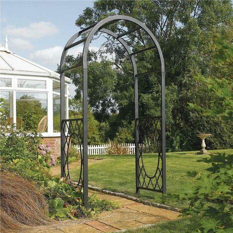 "main image of ""Rowlinson Wrenbury Round Top Steel Metal Garden Arch Grey Pergola Plant Support"""