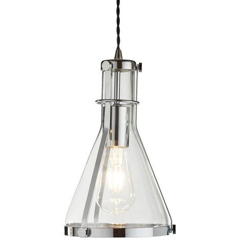 ROXBURY 1 LIGHT METAL FRAMED CONICAL GLASS PENDANT, CHROME, CLEAR GLASS