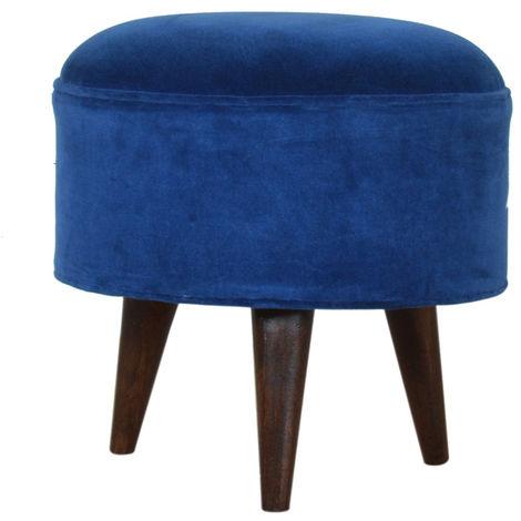 Royal Blue Velvet Nordic Style Footstool