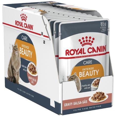 ROYAL CANIN INTENSE BEAUTY 85g (Salsa) belleza y brillo del pelaje para gatos adultos - 12 Sobres 85g