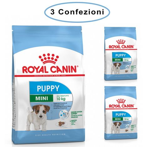 Royal canin mini puppy junior crocchette per cuccioli 3 confezioni da 800 grammi