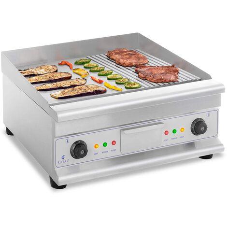 Royal Catering Fry Top Eléctrico Doble Parrilla Longitud 60 cm 2 Zonas De Calor 6.400W