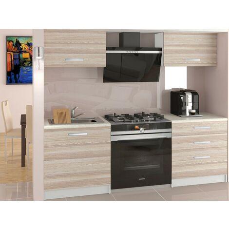 ROYAL | Cuisine Complète Modulaire + Linéaire L 120 cm 4 pcs | Plan de travail INCLUS | Ensemble armoires meubles cuisine - Acacia