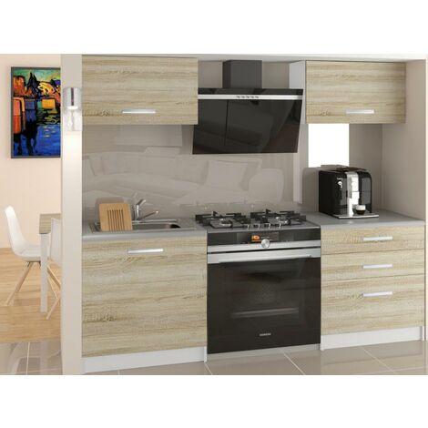 ROYAL - Cuisine Complète Modulaire + Linéaire L 120cm 4 pcs - Plan de travail INCLUS - Ensemble armoires meubles cuisine - Sonoma