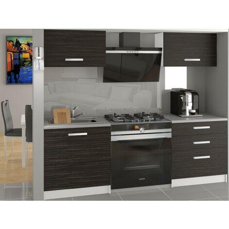 ROYAL   Cuisine Complète Modulaire + Linéaire L120 cm 4 pcs   Plan de travail INCLUS   Ensemble armoires meubles cuisine   Ébène