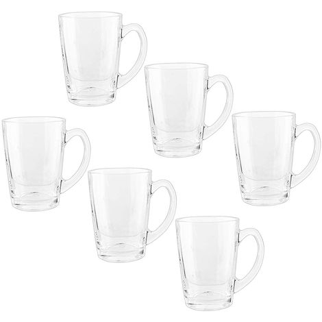 Royal Cuisine Set of 6 Tea Coffee Cups Glasses 295ml Dishwasher Microwave Safe