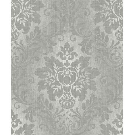 Royal House Vinyl Wallcovering Fabric Damask in Silver A10904