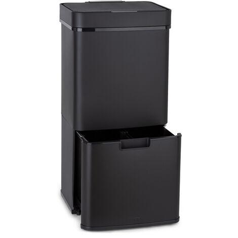 Royal Trash Matte Black Sensor-Mülleimer 72 Liter Edelstahl