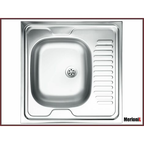 ROYALE | Évier en acier inoxidable 1 cuve | 60x60x15 cm | Avec égouttoir | Évier à poser cuisine 1 bac - Argent