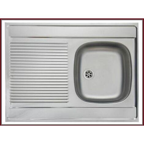 ROYALE | Évier en acier inoxidable 1 cuve réversible | 80x60x15 cm | Avec égouttoir | Évier à poser cuisine 1 bac - Argent